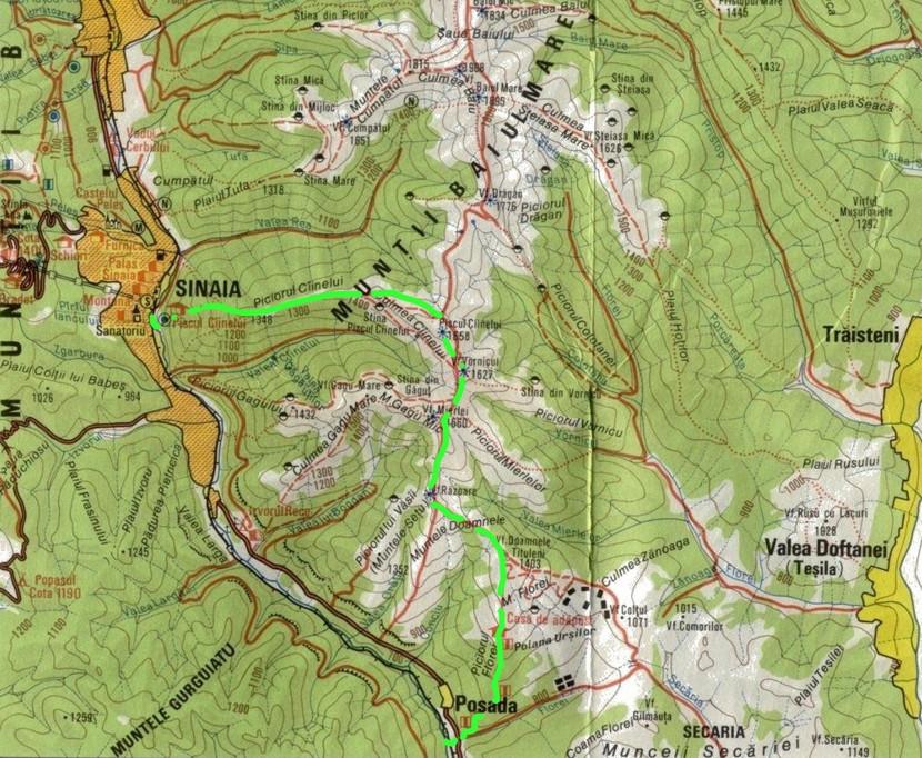Harta Muntii Baiului traseu Sinaia - Posada