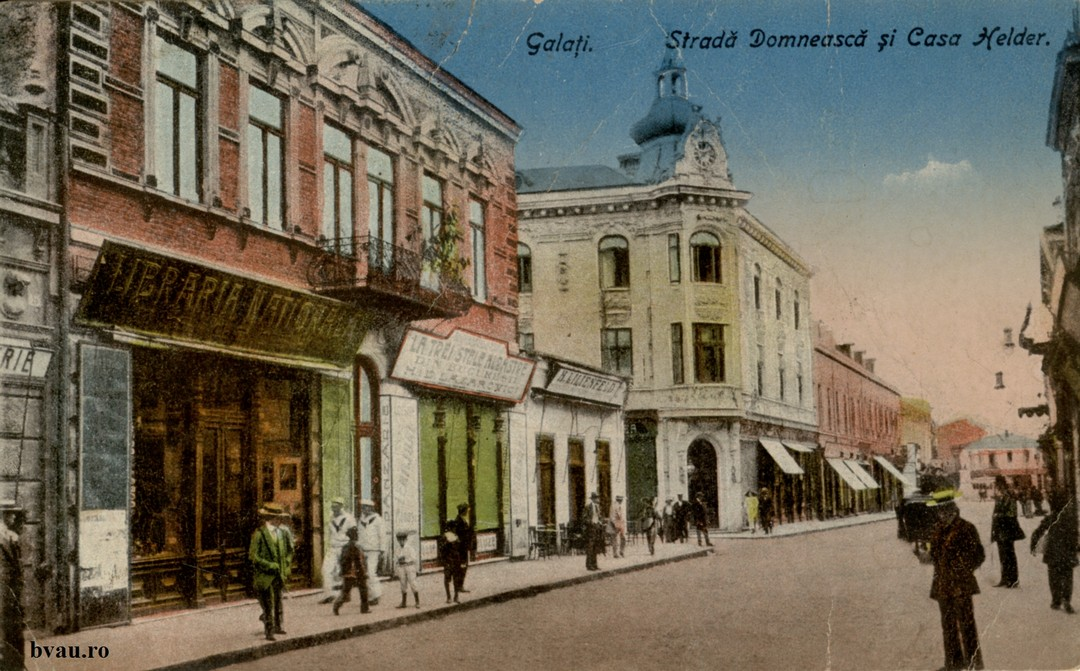 Strada Domneasca - În imagine Casa Helder de pe str. Fraternităţii, nr. 2, Librăria Naţională şi La trei stele albastre din Bucureşti.