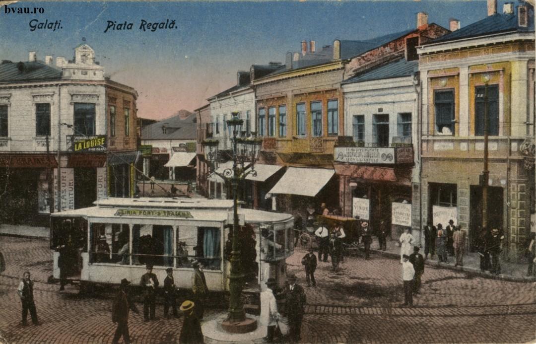 Piata Regala Pe verso text corespondenţă datat 07.01.1922, Galaţi şi timbrele Ferdinand şi România.Asistenţa Socială.