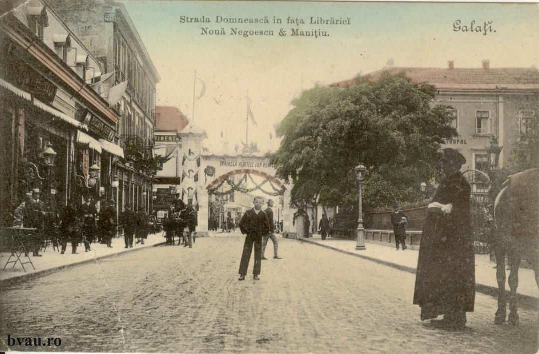Strada Domneasca Pe verso text corespondenţă, datat 23 aug. [1905-1910], Galaţi şi două timbre Ferdinand.