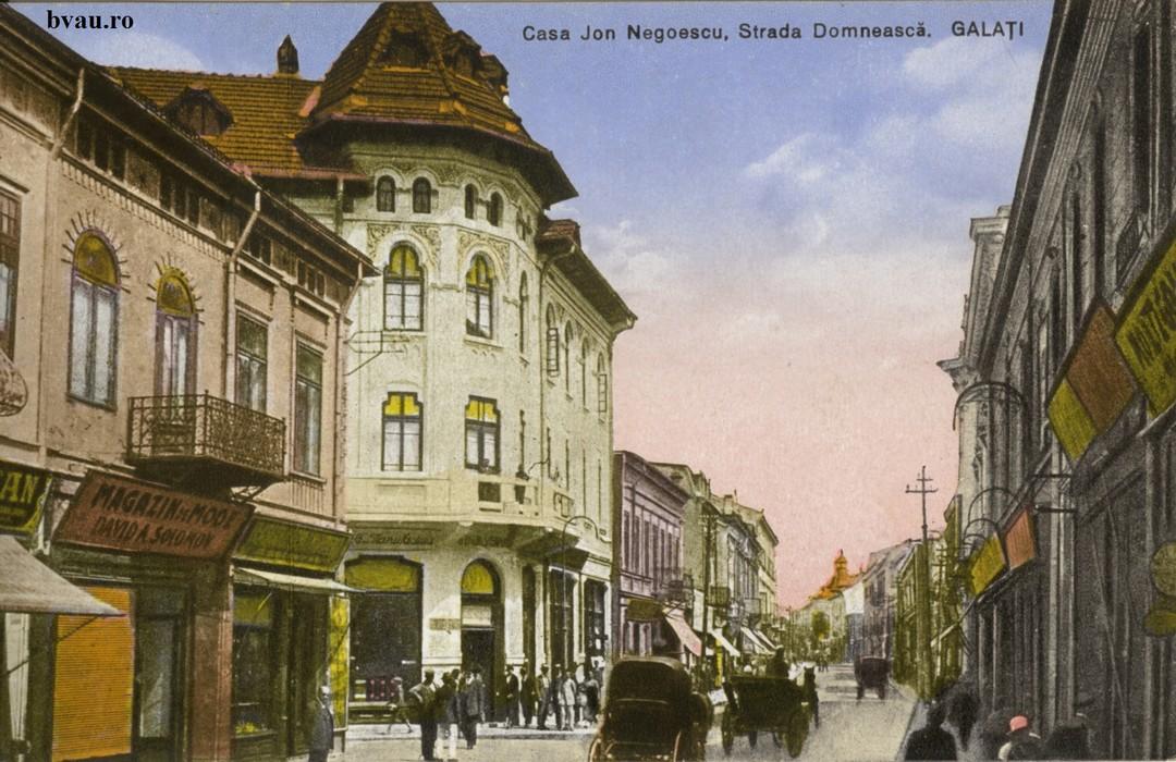 Strada Domneasca În prim plan Magazinul de modă David Solomon. Pe verso text corespondenţă, datat 07.VII1.1929, Galaţi