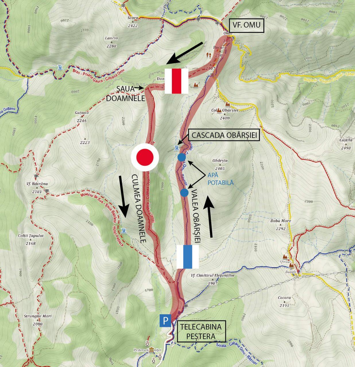 Harta traseu 1 zi Varful Omu de la Pestera, Muntii Bucegi