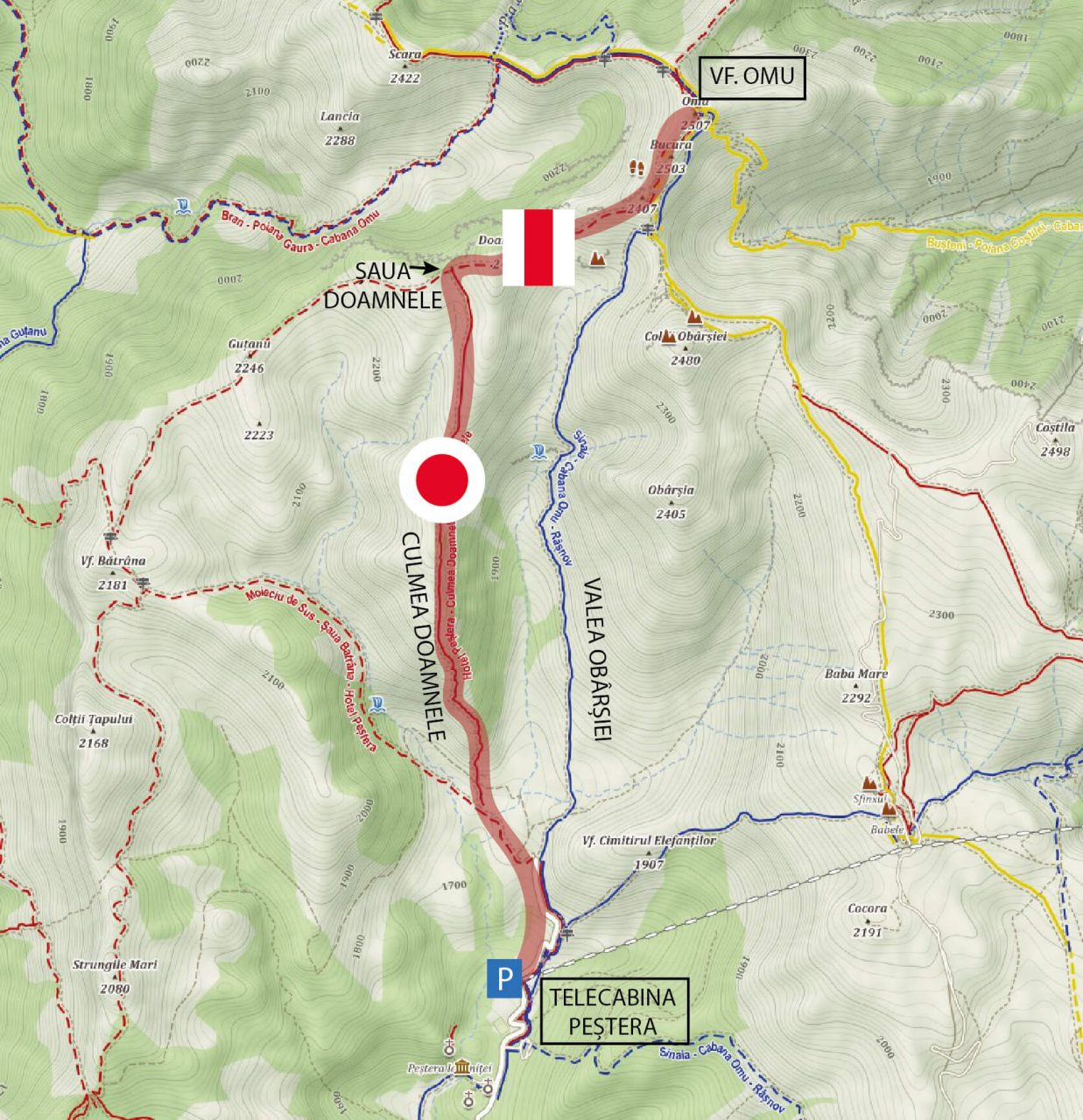 Harta traseu Culmea Doamnele, Muntii Bucegi