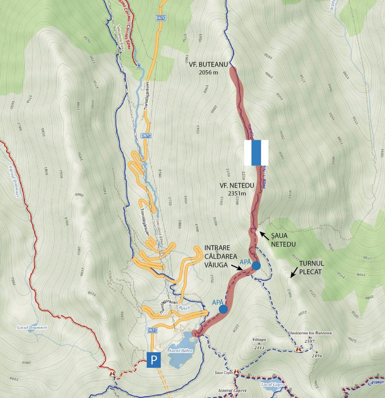 Harta traseu drumetie Muchia Buteanu